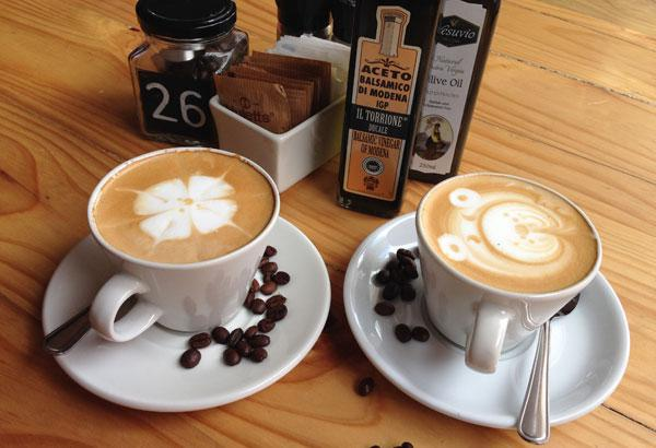 Cappuccinos at MammaGs in Ballito, South Africa