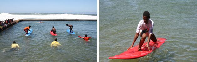 Ballito Lifeguards teach surfing lessons Mr Price Pro