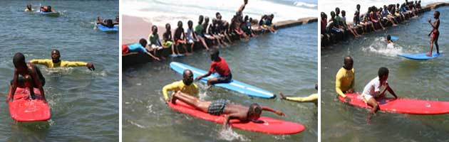 Underprivileged learn surfing at Thompsons Bay Pool