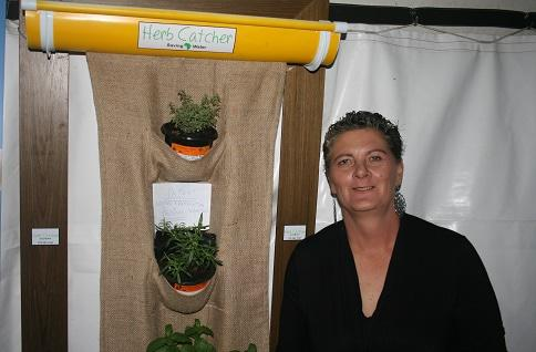 Ronel Henn of Gardening Fanatics KZN and North Coast with her ingenious patented Herb Catcher