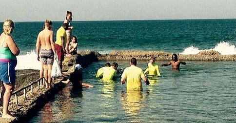 The Spcialised Rescue Unit work with KDM Lifeguards to capture the shark in Salt Rock Tidal Pool.