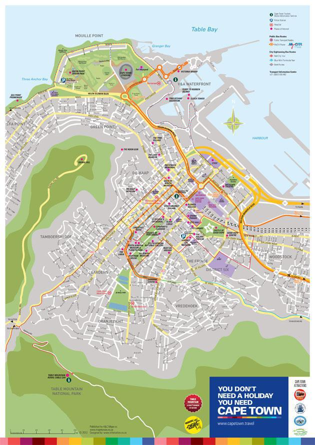 Cape Town City Map - Courtesy of Cape Town Tourism