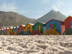 The famous Muizenburg Beach Huts, Cape Town