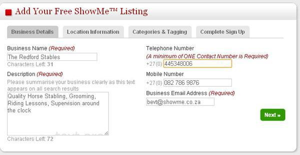 How to add a free Business Listing on ShowMe Stellenbosch | Stellenbosch