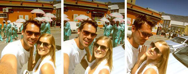 Ed Beukes and Christel van Aswegen with the Kaapse Klopse