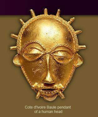 Cote D'Ivore gold Baule Pendant of a human head
