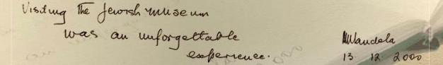 Nelson Mandela's visitors book entry at The Jewish Museum