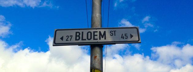Road sign reading Bloem Street