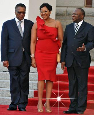 1st Lady Mrs Thobeka Zuma flanked by Speaker of parliament Mr Max Sisulu and the Chairperson of the NCOP Mr Mninwa Mahlangu on arrival at the Parliament. Photo: GCIS