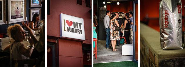 I Love My Laundry Buitenkant Street with people drinking wine