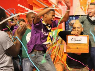 Claude Schippers is announced as the 2014 Survive It winner. Photo from: huisgenoot.com