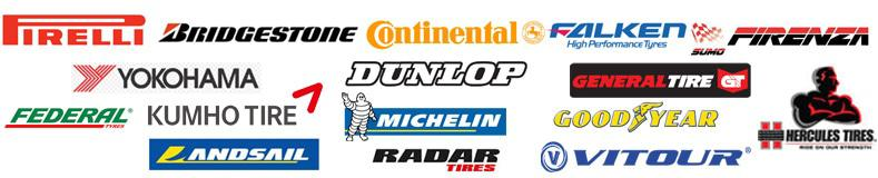 Pirelli, Landsail, Radar, Kumho, Firestone, Firenza, Continental, Good Year, Bridgestone and Michelin tyres