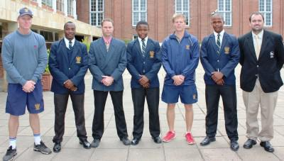 Jean Le Roux (DHS Rugby Coach), Sibusiso Mkhaliphi (U16A Captain), Marc Adam (DHS Rugby Coach), Mthokozisi Gumede (U14A Captain), Conal Levin (DHS Rugby Coach), Sean Barnes (U15A Captain) and Gareth Brown (MIC of Rugby). Picture: S&A Marketing