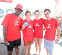 JD Mdu (MC), Tristan Hughes (winner of cell phone), Demi Jefferys (Ballito) and Robin Knott-Craig (Durban) at the Vodacom Easter Fever Ballito.