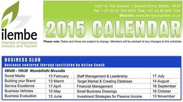 Ilembe Business Club Workshop Dates 2015