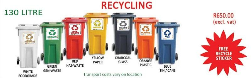 130 litre Wheelie Recycling Bins Durban