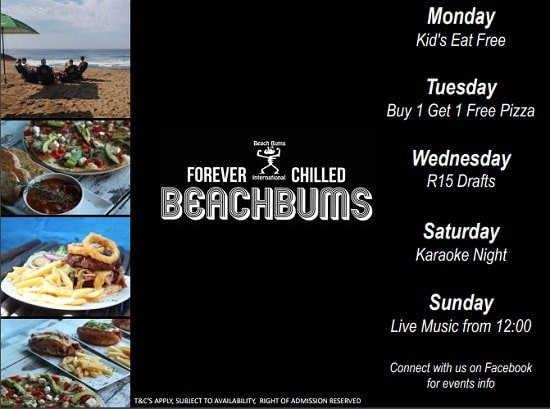 Weekly Specials at Beach Bums International