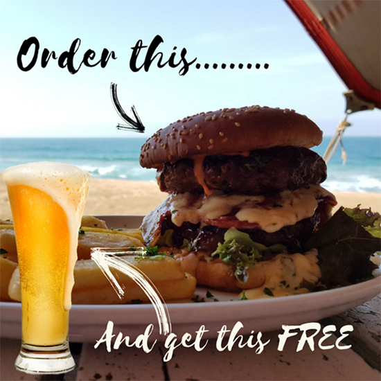 Buy a burger and get a free draft (mon-fri)