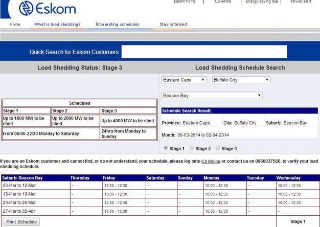 Eskom Loadshedding: Eskom Load Shedding Schedules