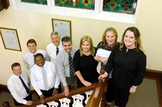 From Left to Right: Angus Pringle, Shaun Mathie, Bongani Qangule, Terence Mathie, Richard Jardine, Ingrid Gaertner, Tanya Coetzee, Sonja Nel.