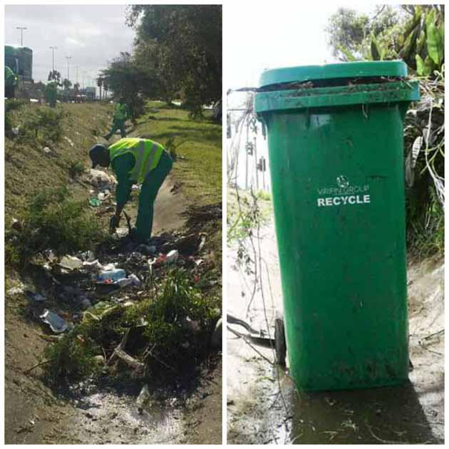 The Settlers Way team hard at work, cleaning up the route from the Airport into the city.  PHOTO:  Saskia Haardt