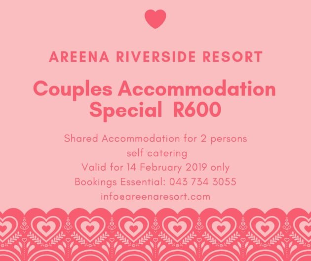 Couples Accommodation Special @ Areena Riverside Resort Valentines Day 2019