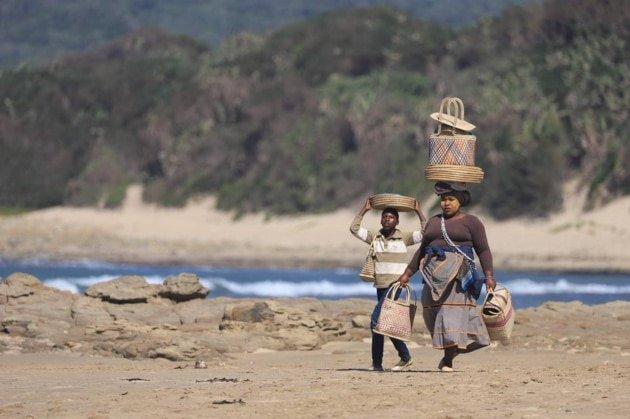 Xhosa Lady & Boy on beach 630