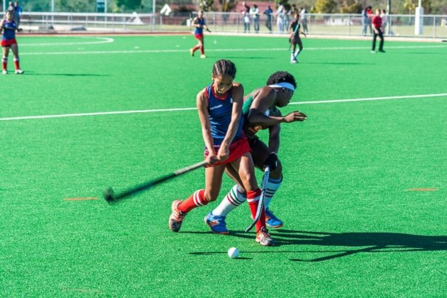 Hudson Park's Jody Ann October (left) prepares to strike the ball during last year's provincial finals in the SPAR Eastern Cape Schoolgirls Hockey Challenge. Hudson Park will be defending their title in the East London Coastal leg of the challenge at Clarendon High in East London on Sunday. Photo: Full Stop Communications