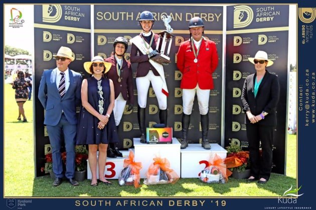 Amber Rathbone on the winning podium @ 2019 SA Derby