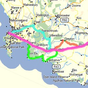 Map of Road Trip between Cape Town and Port Elizabeth