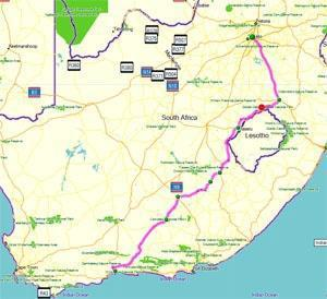 Map of Route from Johannesburg to George via Clarens small