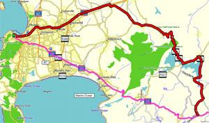 Road Trip Map from Cape Town to N2 via Franschoek