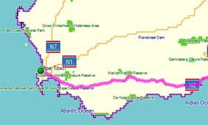 Route Map from Cape Town to Port Elizabeth via the Garden Route small