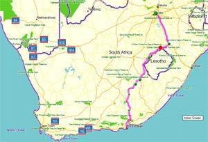 Route from Johannesburg to Port Elizabeth via Addo small