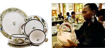 Ardmore design tableware - Zinhle range, One of Ardmores artists, Jabu Nene