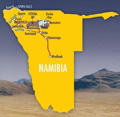 Map to Kaokaveld