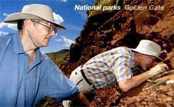 Professor Robert Reisz (right) investigates a new find