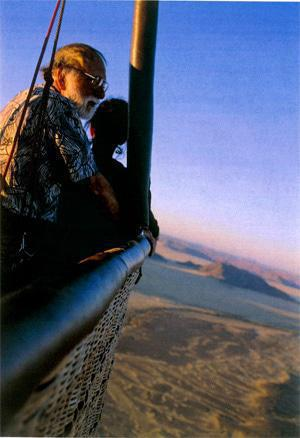 Hot-air balloon trips over the desert take place at dawn, while the air is still cool enough for the balloon to rise.