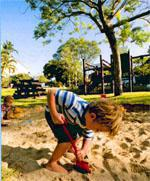 Sandpit-anista kids love a big sand pit such as this one at Woodbourne Resort