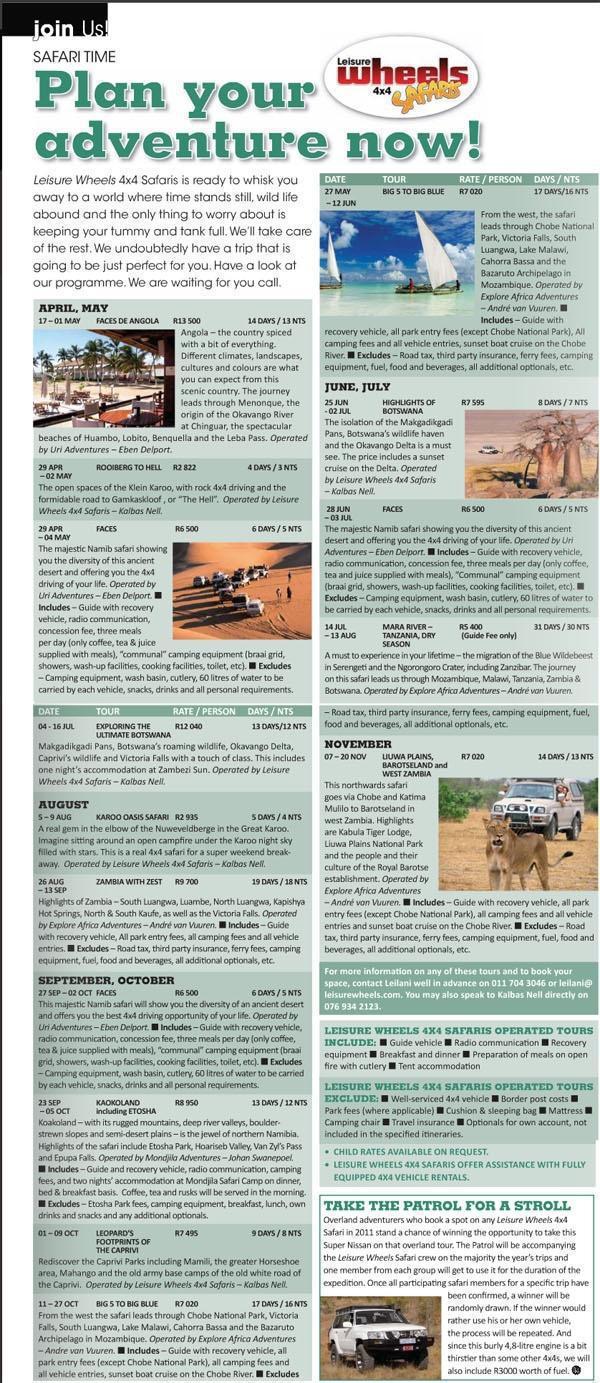 Leisure Wheels Safari Schedule