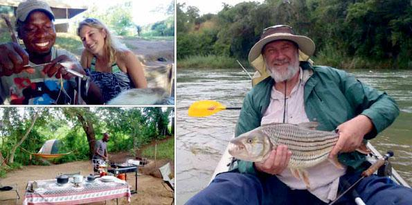 Camp manager Menzes Linda ties a Clouser Minnow fly for Dr Jenny Preiss. Menzes prepares a sumptuous open-air  breakfast. Retired architect Nick Presoan with a trophy-size fish which he released.