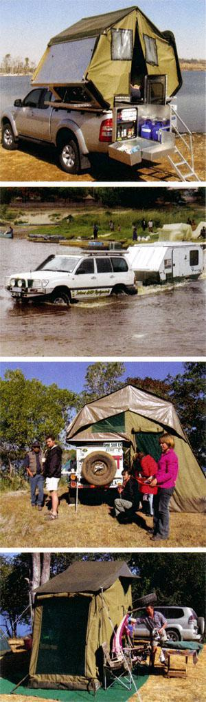 Above: Nowadays, overlanders can choose between bakkie camper units with tents, off-road caravans, trailers with roof-top tents and sturdy canvas tents when shopping for camping accommodation. Their choice, however, will depend on their needs. When tackling rivers and bad roads, for example, towing a caravan can be problematic. A simple tent would probably be better.