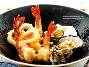 Seafood tempura with chilli lime dipping