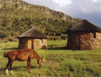 Basotho huts and pony at Mount Moorosi.