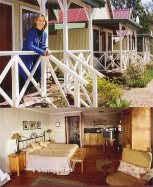 Top: Linda Wilkinson, owner of the Pennefather Goldmining Company complex in Haenertsburg at the period-styled cottages she had built. Above: The interior also matches the era and style of Haenertsburg's heyday.