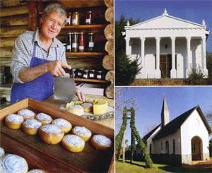 The Greek temple - a home that was built in the style of the Parthenon by a wealthy businessman. Our Lady of Mount Carmel Catholic Church; Nipper Thompson from Wegraakbosch Organic Farm sells his cheeses from a quaint log cabin near Picasso's Cafe.
