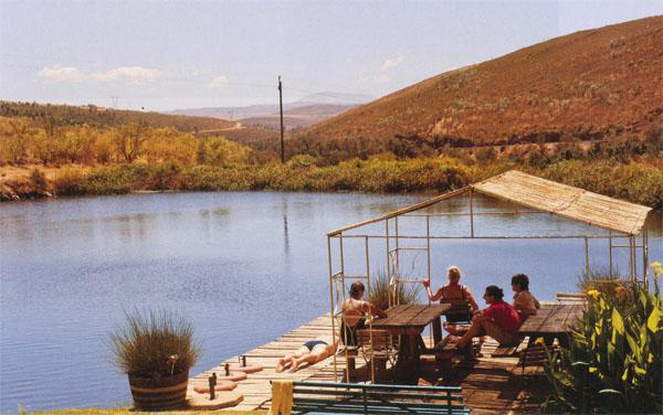 Every stopover has somewhere you can cool off, like this dam at Beaumont Wines