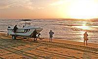 Fishing off the beach at Cape Vidal, Kwazulu-Natal