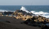 Fishing from the rocks at Umhlanga