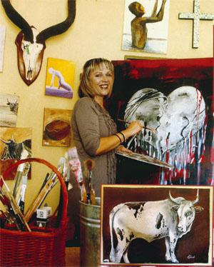 Claudi Simon is a well established artist. Known as the Nguni lady, her paintings of groups of cattle convey an honest extract of rural images on dust roads in Africa. Her paintings of teenage mothers are in high demand.